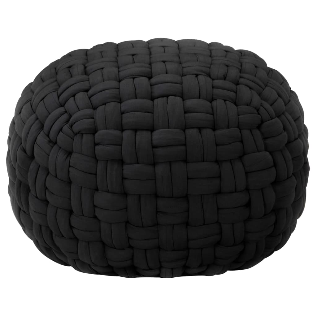 vidaXL Puf cu design împletit, negru, 50 x 35 cm, bumbac poza 2021 vidaXL