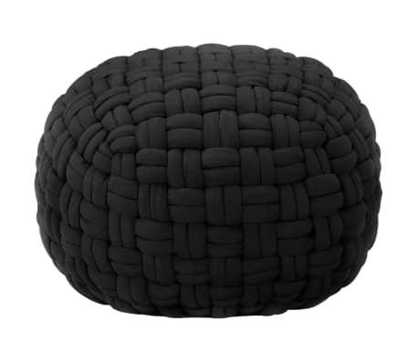 vidaXL Poef gevlochten ontwerp 50x35 cm katoen zwart