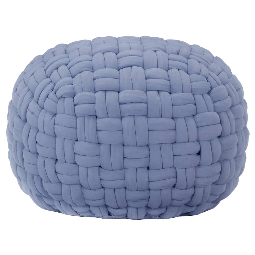 Sedací puf pletený modrý 50 x 35 cm bavlna
