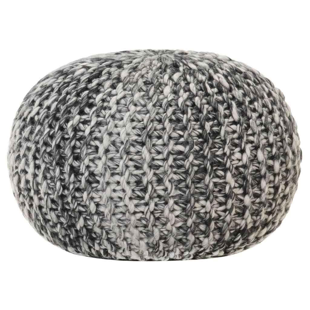 Ručně pletený sedací puf tmavě šedý 50x35 cm vlněný vzhled