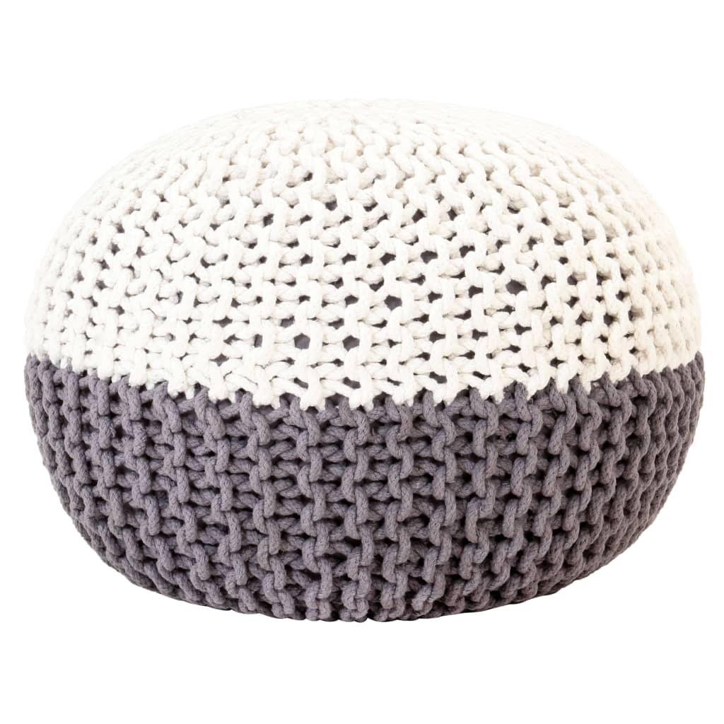 Ručně pletený sedací puf antracitovo-bílý 50 x 35 cm bavlna