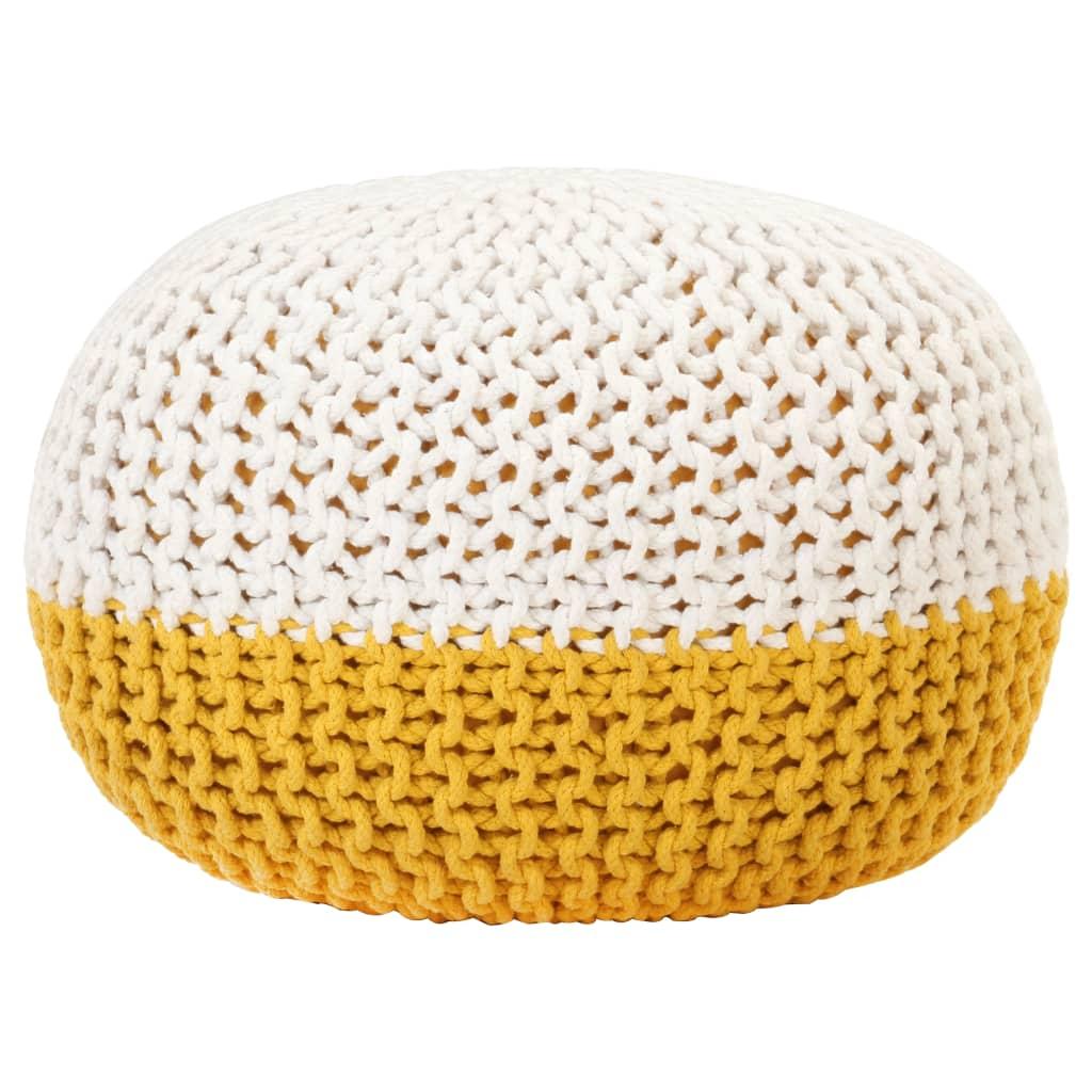 Ručně pletený sedací puf hořčicovo-bílý 50 x 35 cm bavlna