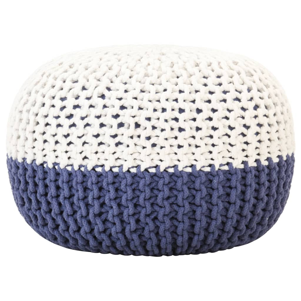 Ručně pletený sedací puf modro-bílý 50 x 35 cm bavlna