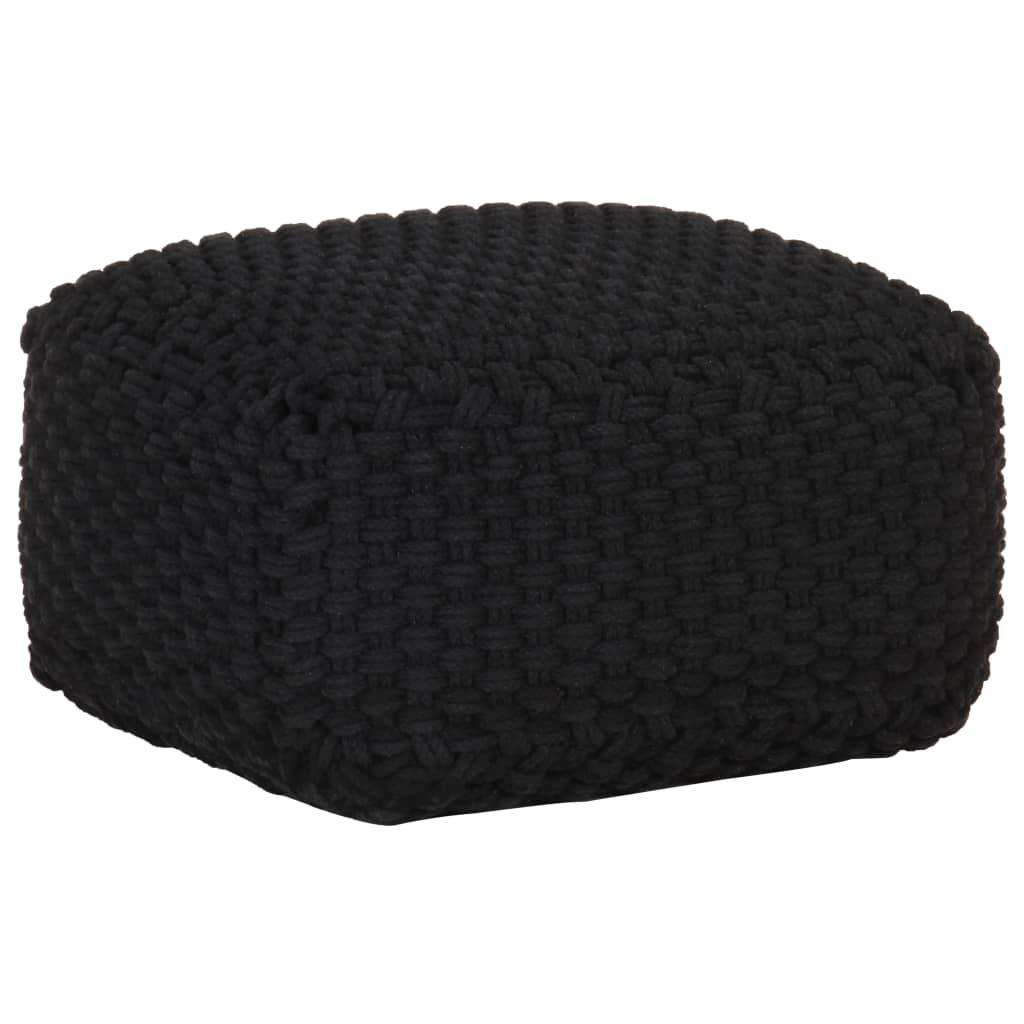 vidaXL Puf tricotat manual, negru, 50 x 50 x 30 cm, bumbac poza vidaxl.ro