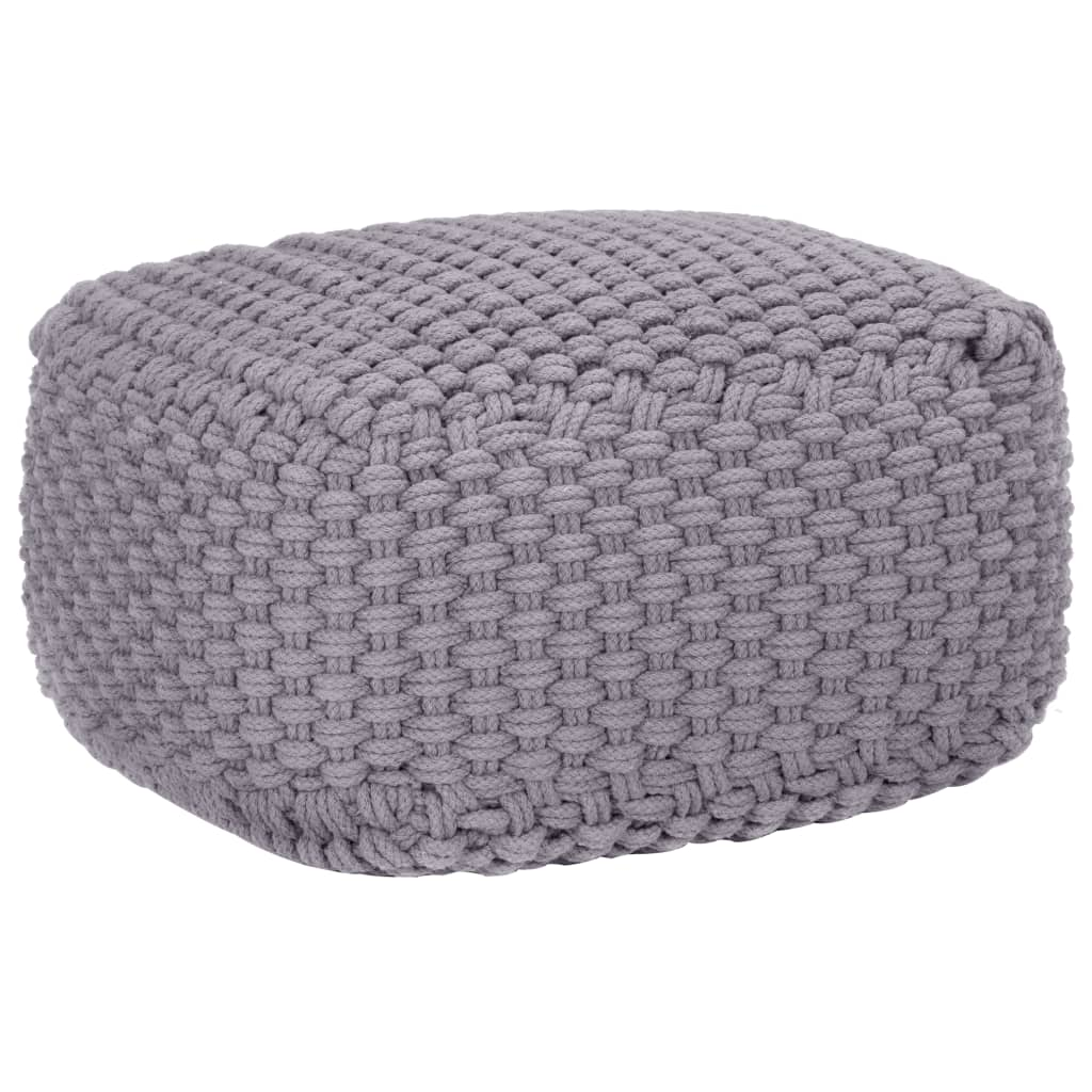 vidaXL Fotoliu puf tricotat manual, gri, 50 x 50 x 30 cm, bumbac poza vidaxl.ro