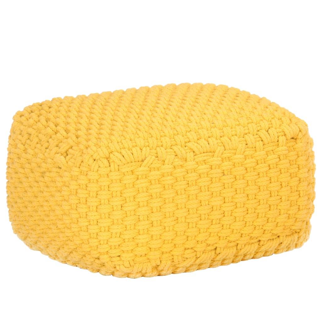 vidaXL Puf tricotat manual, galben muștar, 50x50x30 cm, bumbac poza vidaxl.ro