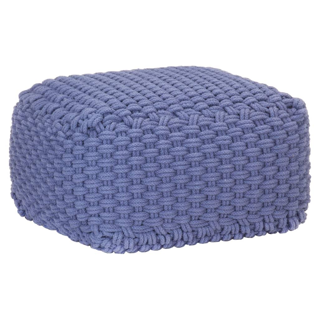 Ručně pletený sedací puf modrý 50 x 50 x 30 cm bavlna