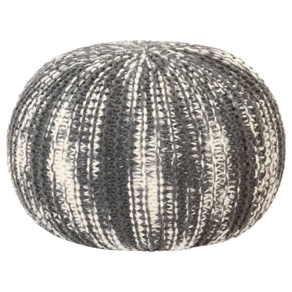 Ručně pletený sedací puf tmavě šedo-bílý 50 x 35 cm vlna