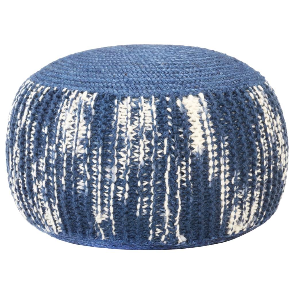 Ručně pletený sedací puf modro-bílý 50 x 35 cm vlna