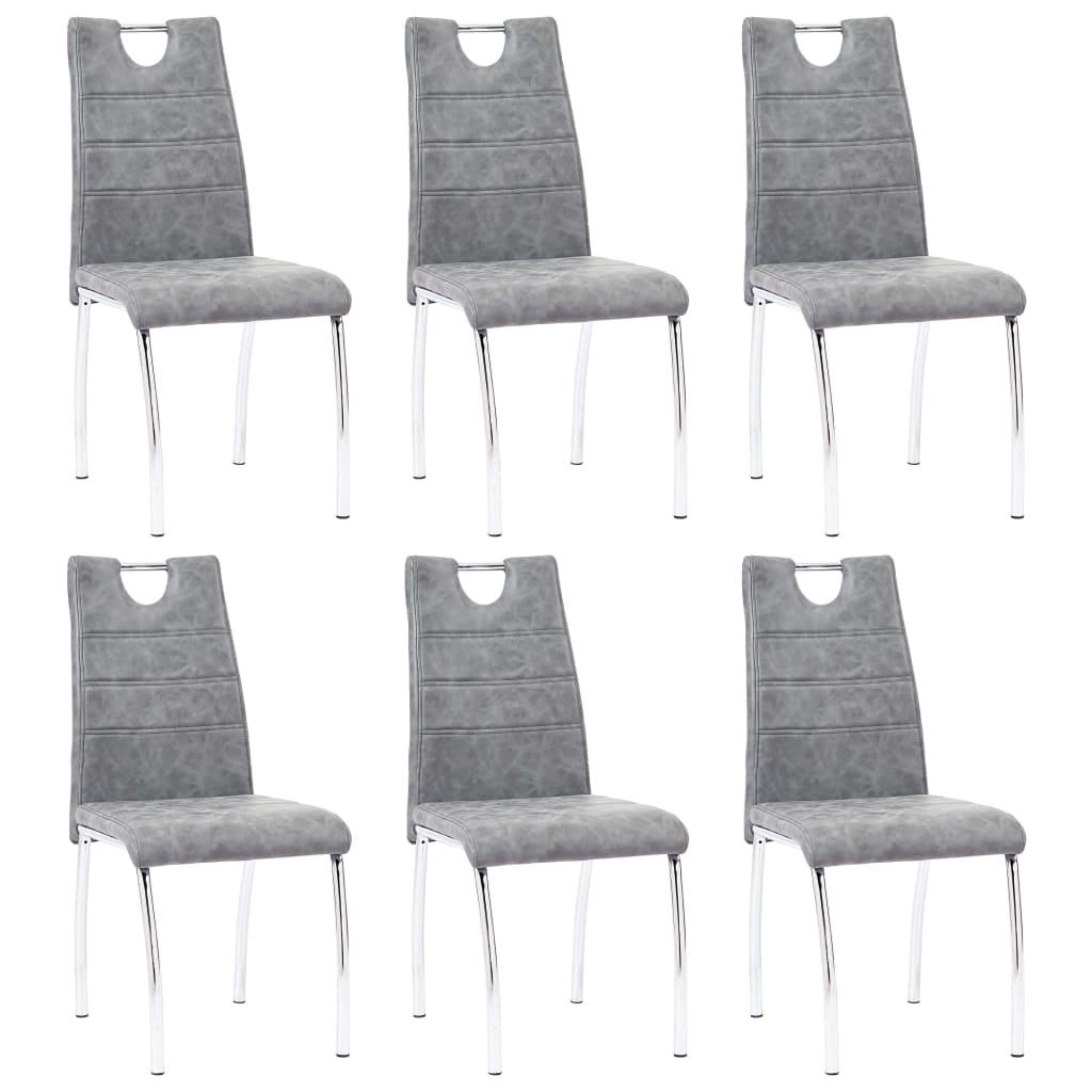 vidaXL Καρέκλες Τραπεζαρίας 6 τεμ. Γκρι από Συνθετικό Δέρμα