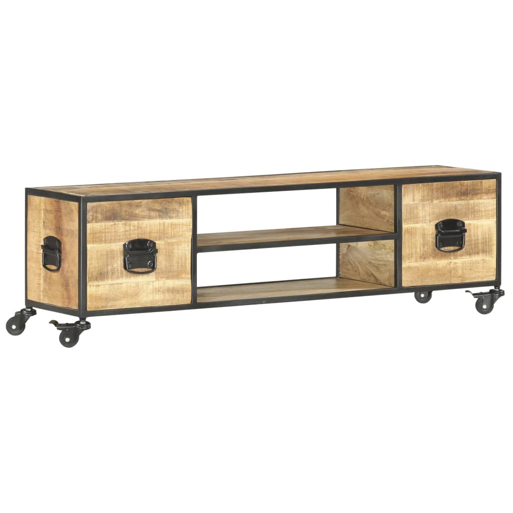 vidaXL Comodă TV, 130 x 30 x 39 cm, lemn masiv de mango vidaxl.ro