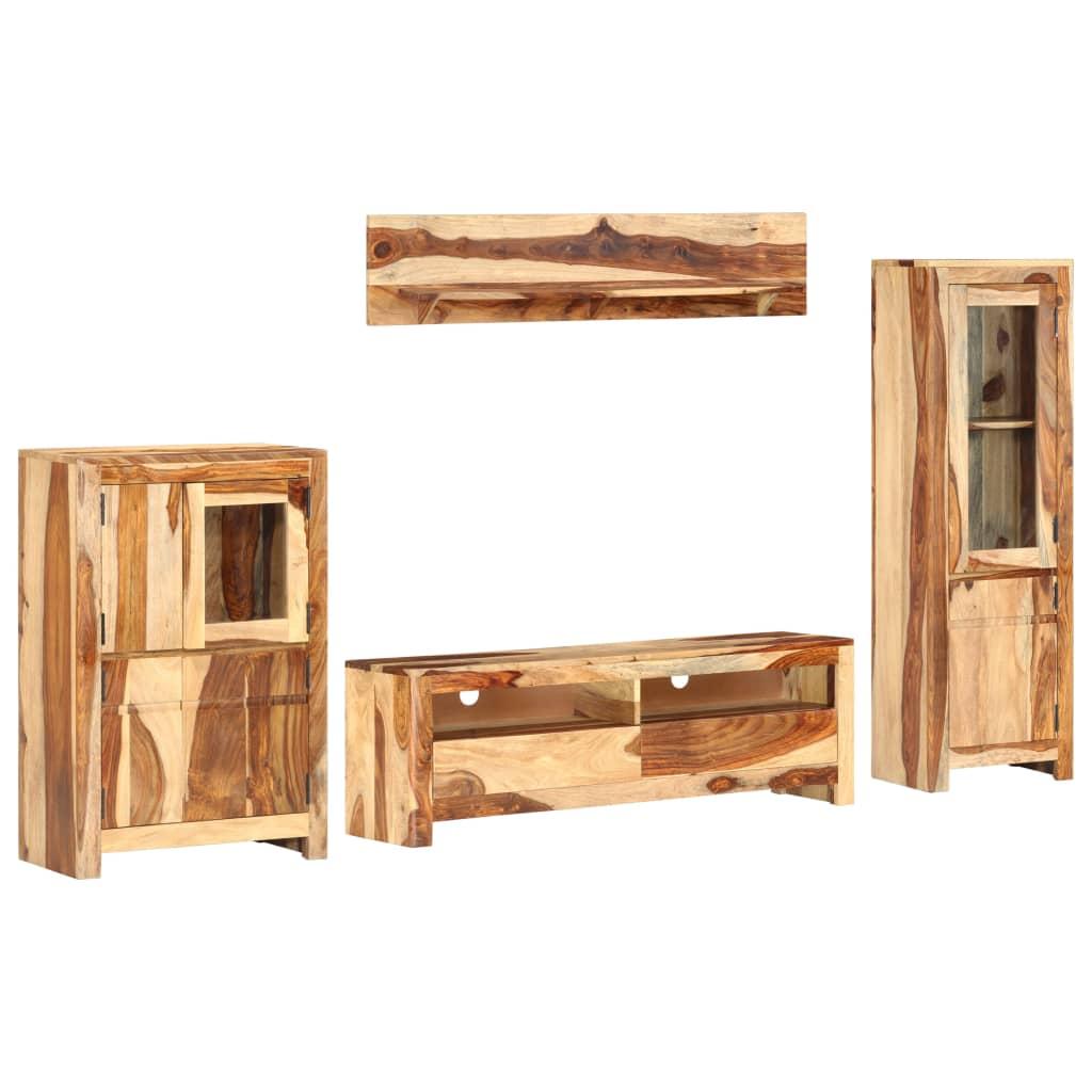 vidaXL Set unitate TV, 4 piese, lemn masiv de sheesham vidaxl.ro