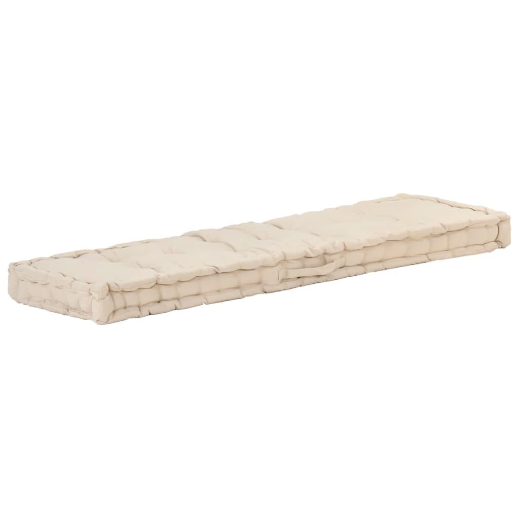 vidaXL Pernă podea canapea din paleți, bej, 120 x 40 x 7 cm, bumbac poza 2021 vidaXL