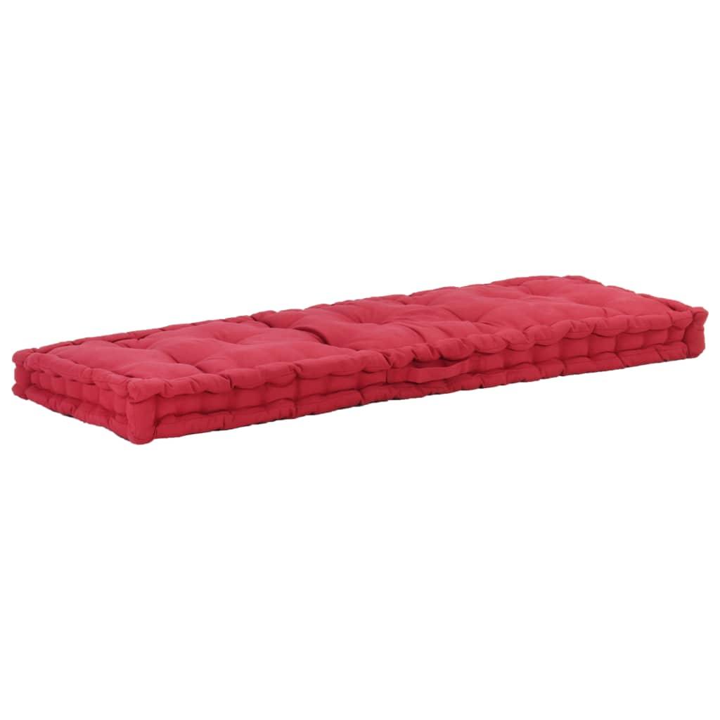 vidaXL Pernă podea canapea din paleți, vișiniu, 120x40x7 cm, bumbac imagine vidaxl.ro