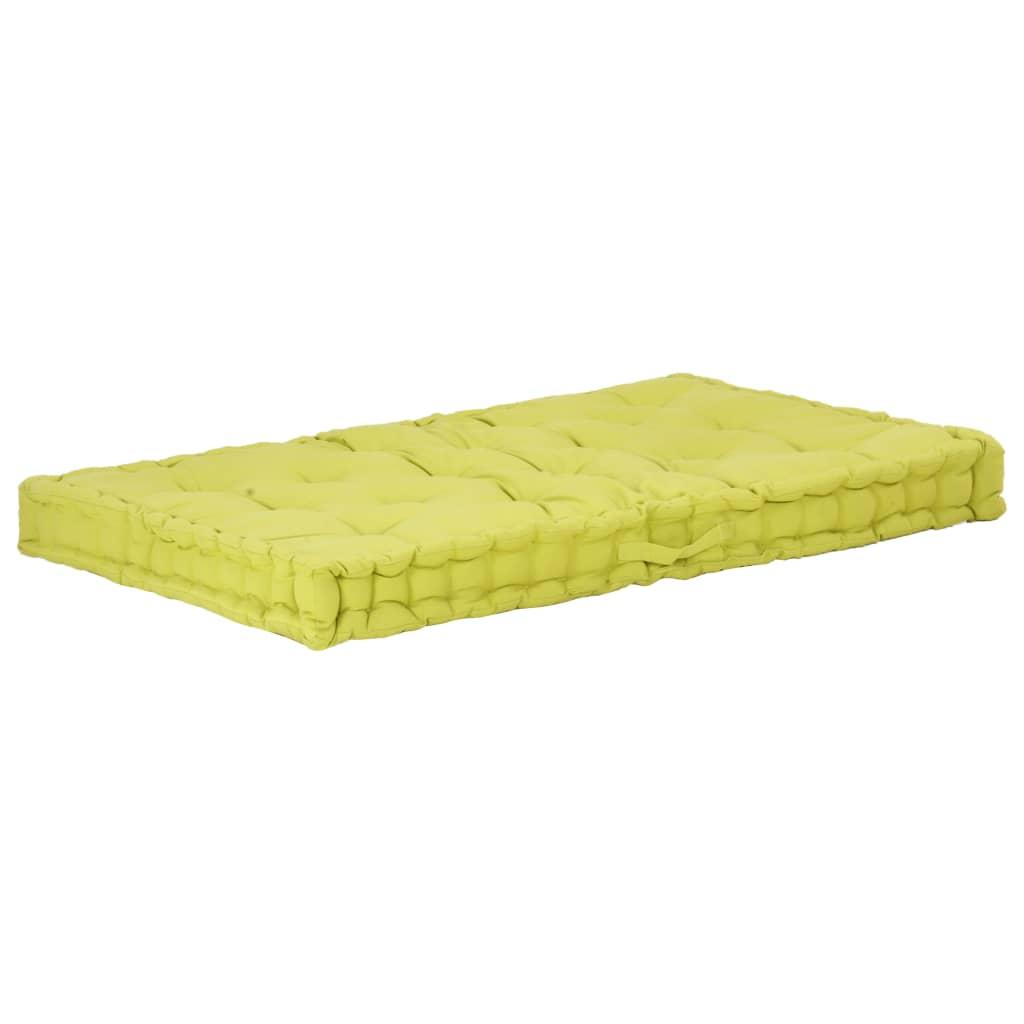 vidaXL Pernă podea canapea din paleți, verde, 120 x 80 x 10 cm bumbac poza 2021 vidaXL
