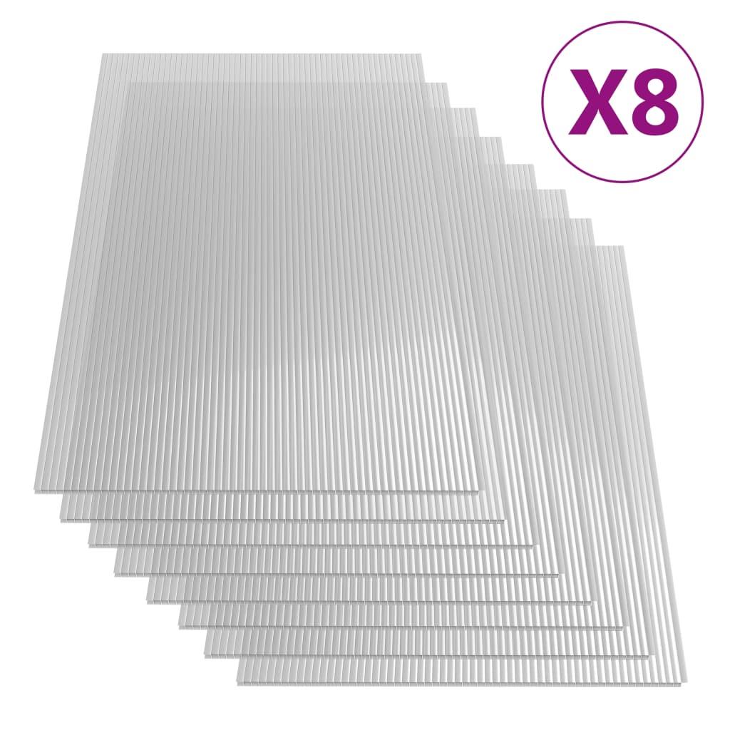 vidaXL Plăci din policarbonat, 8 buc., 121 x 60 cm, 4 mm imagine vidaxl.ro