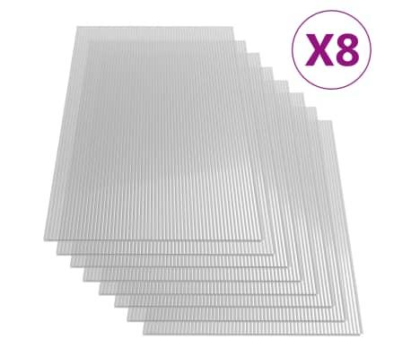 vidaXL Paneles de policarbonato 8 unidades 4 mm 121x60 cm