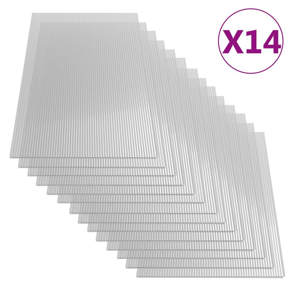 vidaXL Polykarbonátové desky 14 ks 4 mm 121 x 60 cm