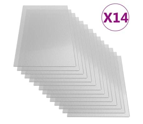 vidaXL Paneles de policarbonato 14 unidades 4 mm 121x60 cm