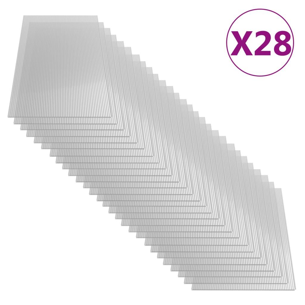 vidaXL Plăci din policarbonat, 28 buc., 121 x 60 cm, 4 mm imagine vidaxl.ro