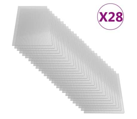 vidaXL Paneles de policarbonato 28 unidades 4 mm 121x60 cm
