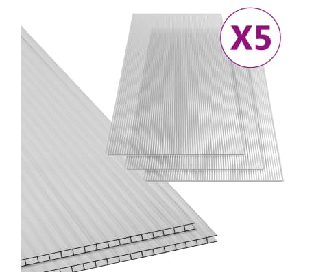 vidaXL Paneles de policarbonato 5 unidades 4,5 mm 150x65 cm