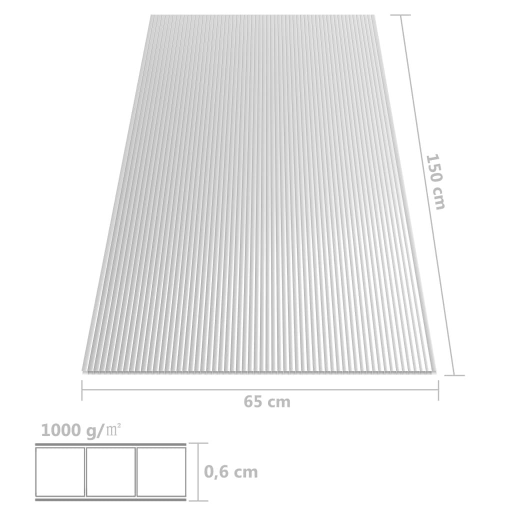 Polycarbonaatplaten 2 st 6 mm 150x65 cm