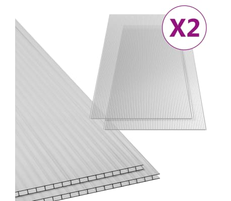 vidaXL Paneles de policarbonato 2 unidades 10 mm 150x65 cm