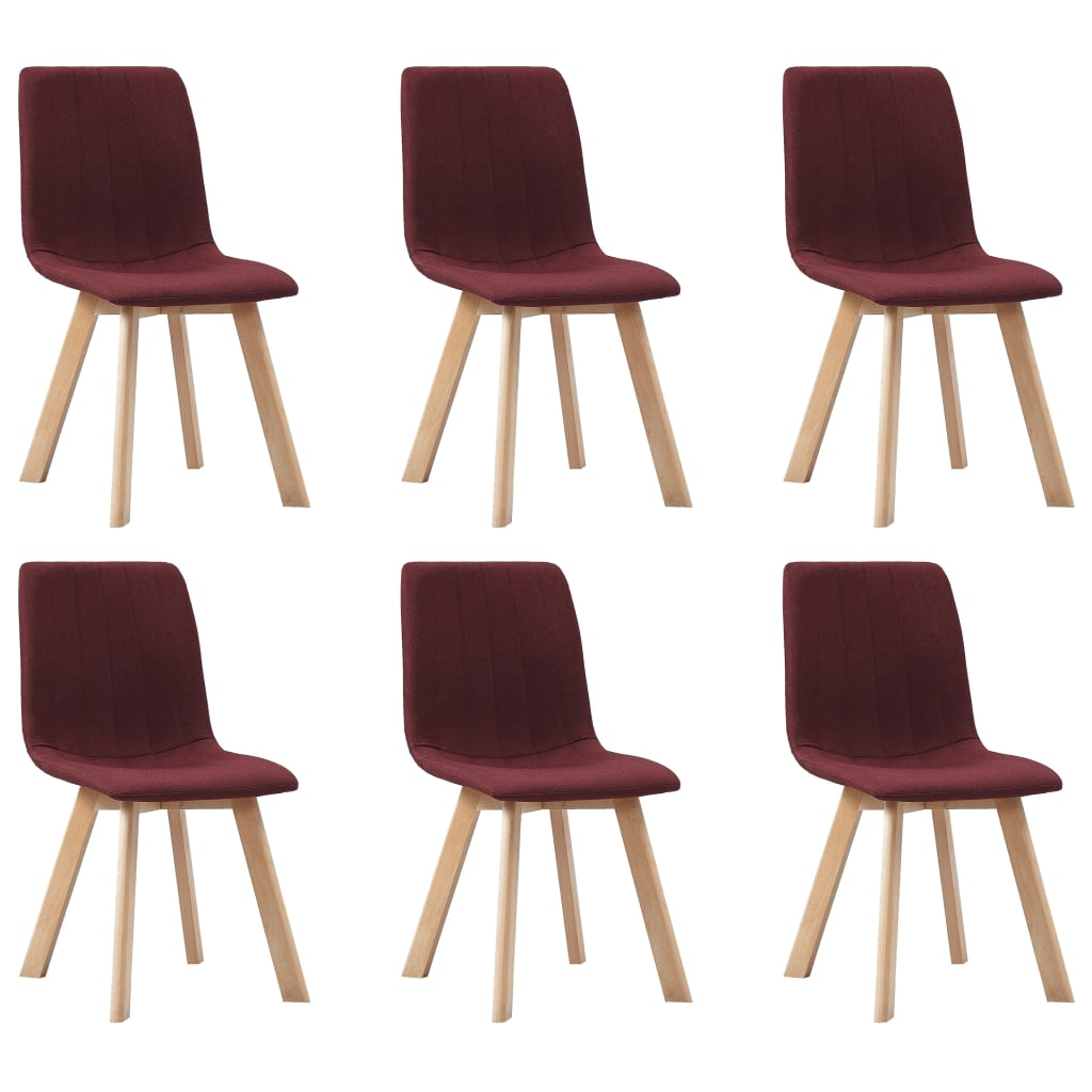 vidaXL Καρέκλες Τραπεζαρίας 6 τεμ. Μπορντό Υφασμάτινες