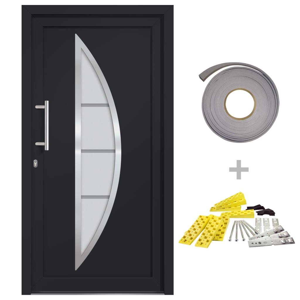 vidaXL Front Entrance Door Anthracite 108×208 cm (145571+203899)