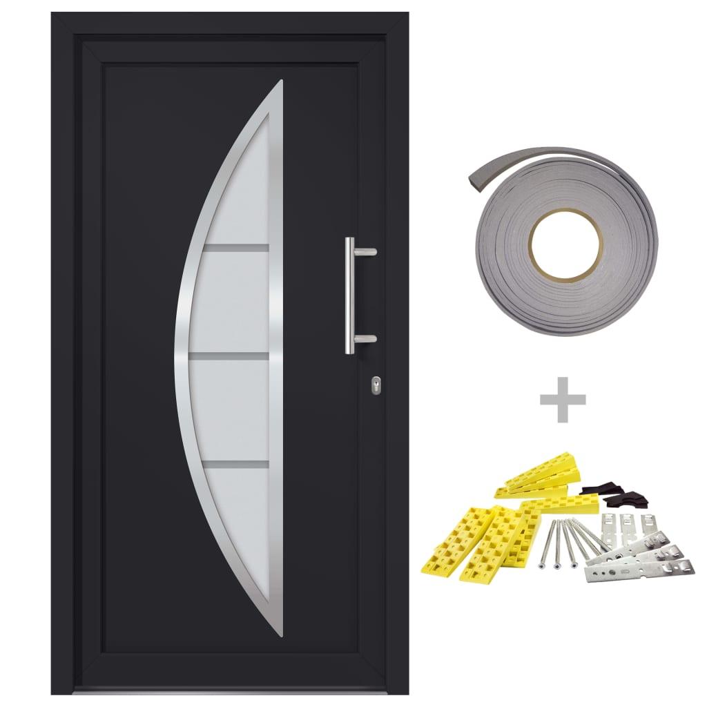 vidaXL Front Entrance Door Anthracite 108×208 cm (145577+203899)