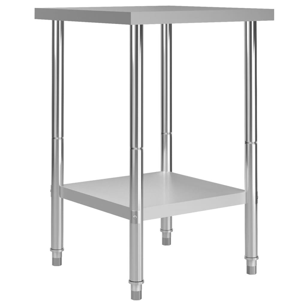 vidaXL Masă de lucru bucătărie, 60 x 60 x 85 cm, oțel inoxidabil imagine vidaxl.ro