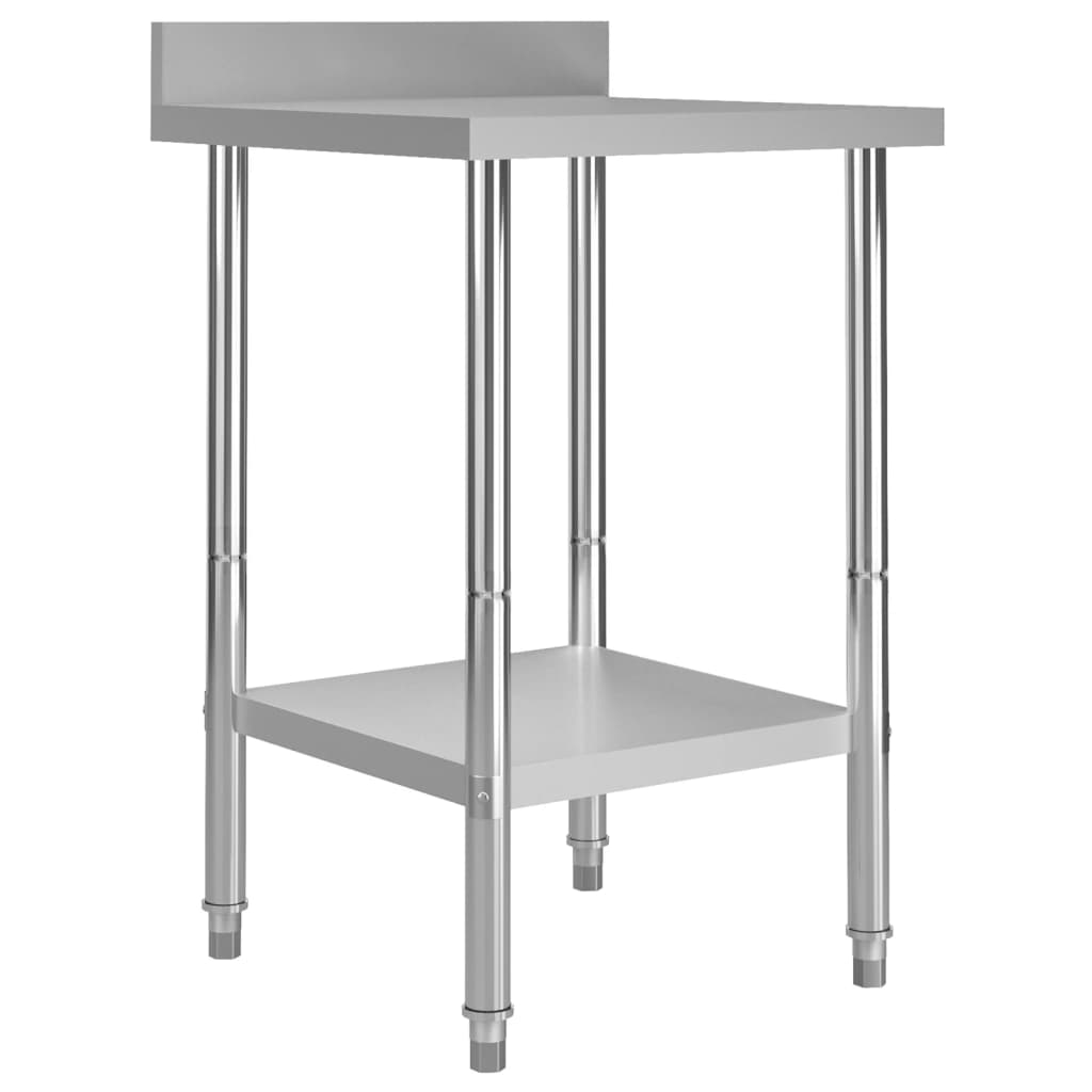 vidaXL Masă de lucru bucătărie bordură antistropire 60x60x93 cm oțel imagine vidaxl.ro