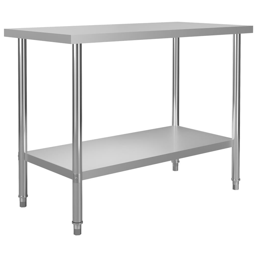 Kuchyňský pracovní stůl 120 x 60 x 85 cm nerezová ocel