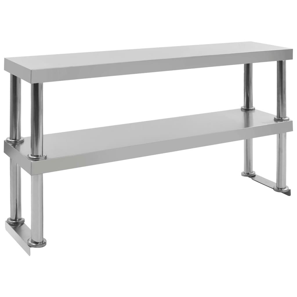 vidaXL Raft masă de lucru cu 2 niveluri, 120x30x65 cm, oțel inoxidabil imagine vidaxl.ro