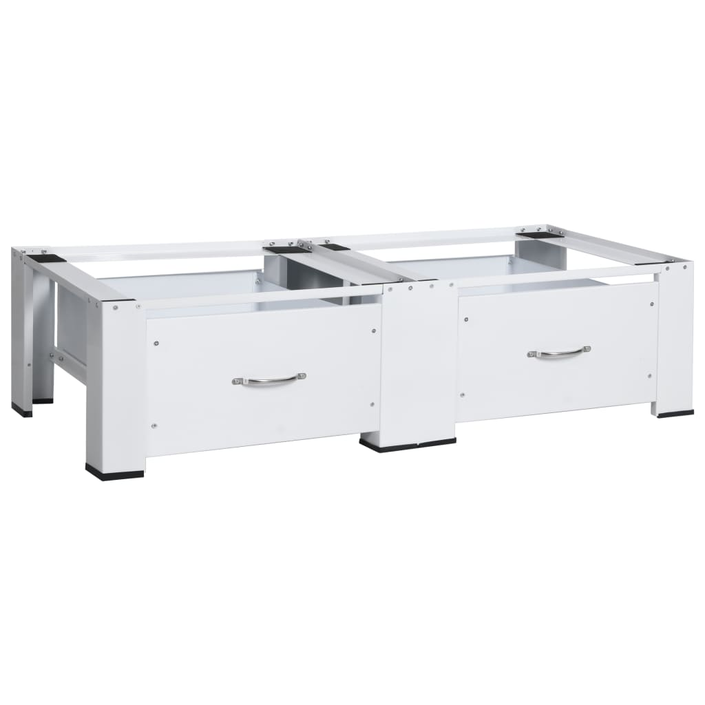 vidaXL Suport dublu pentru mașina de spălat/uscător, cu sertare, alb vidaxl.ro