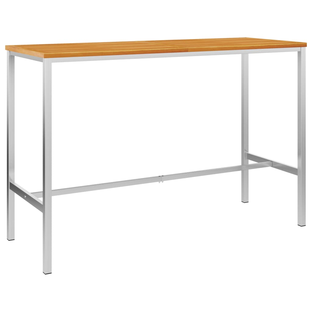 vidaXL Masă de bar, 160x60x105 cm, lemn masiv acacia & oțel inoxidabil poza vidaxl.ro