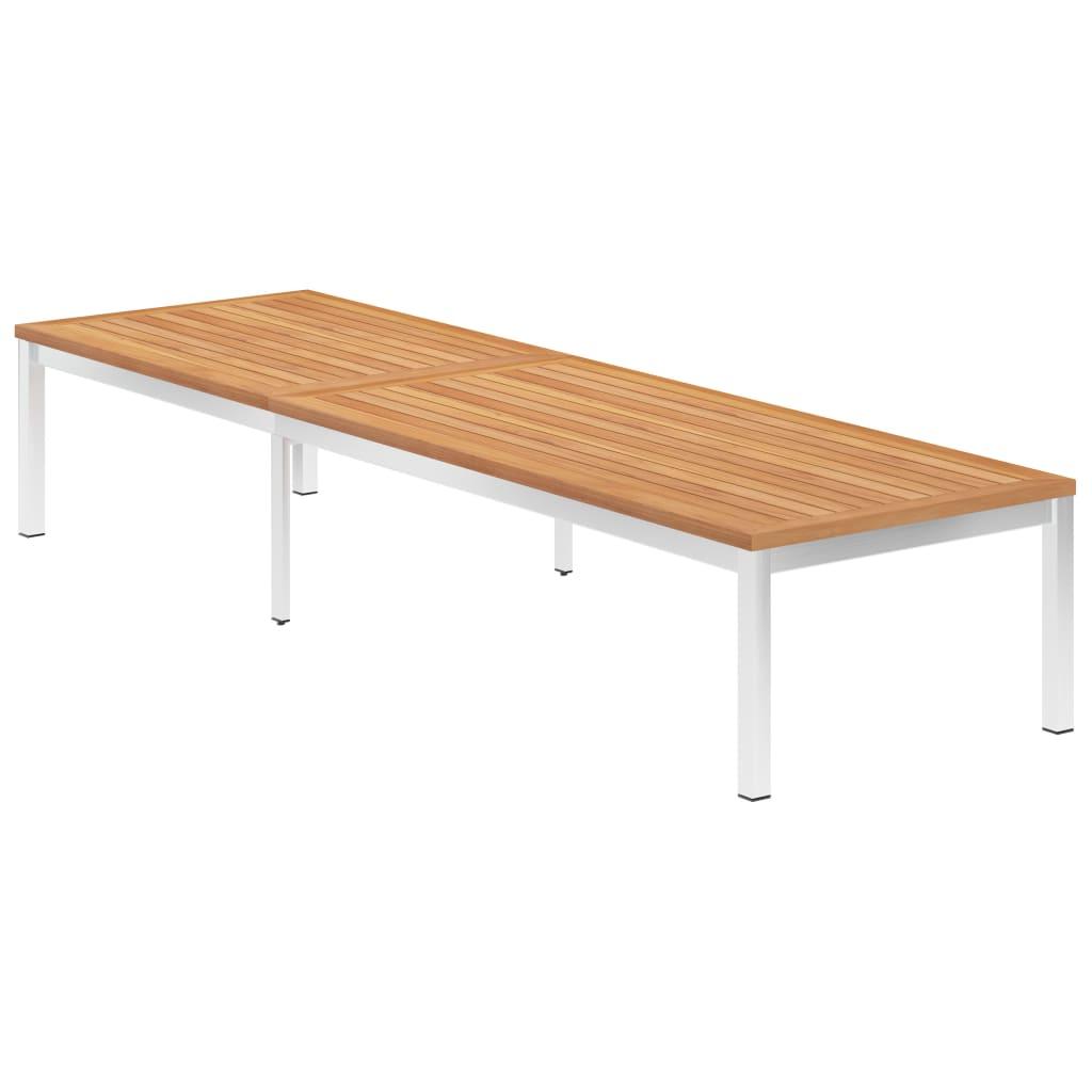 vidaXL Ligbed massief teakhout en roestvrij staal meubelen tuinmeubelen