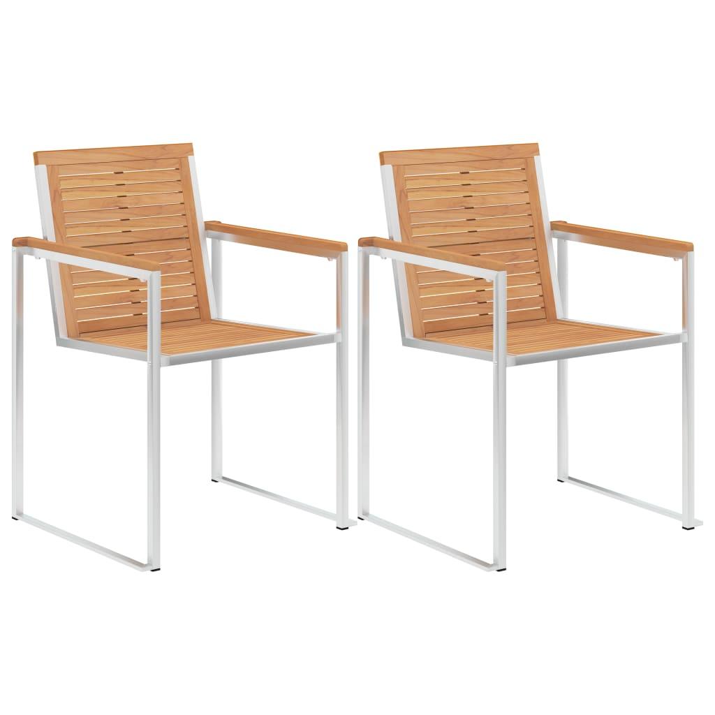 vidaXL Καρέκλες Κήπου 2 τεμ. από Μασίφ Ξύλο Teak/Ανοξείδωτο Ατσάλι