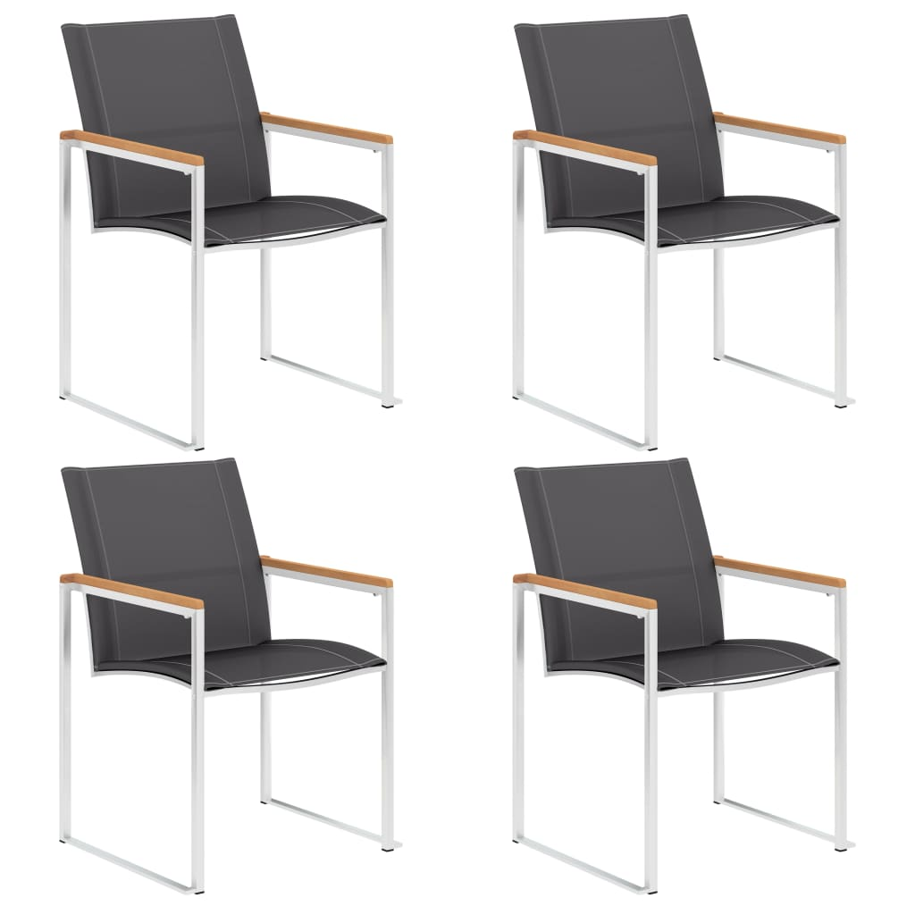 vidaXL Καρέκλες Κήπου 4 τεμ. Γκρι από Ανοξείδωτο Ατσάλι / Textilene
