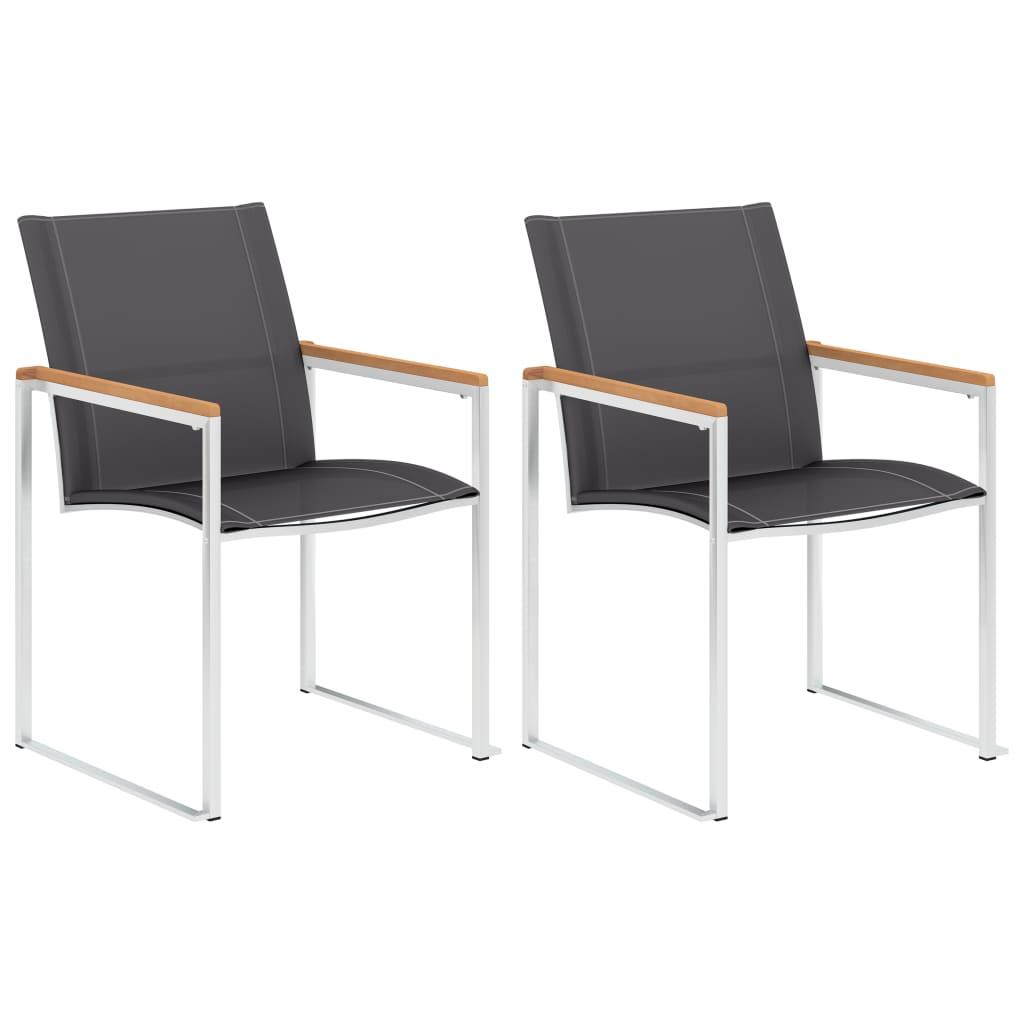 vidaXL Καρέκλες Κήπου 2 τεμ. Γκρι από Ανοξείδωτο Ατσάλι / Textilene