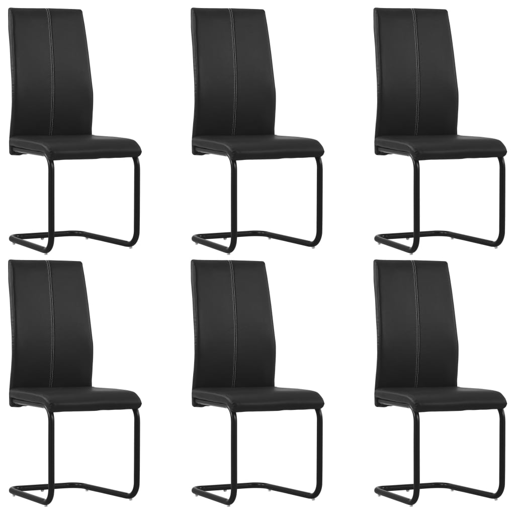 vidaXL Καρέκλες Τραπεζαρίας «Πρόβολος» 6 τεμ. Μαύρες Συνθετικό Δέρμα