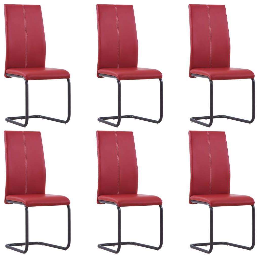vidaXL Καρέκλες Τραπεζαρίας 6 τεμ. Κόκκινες από Συνθετικό Δέρμα
