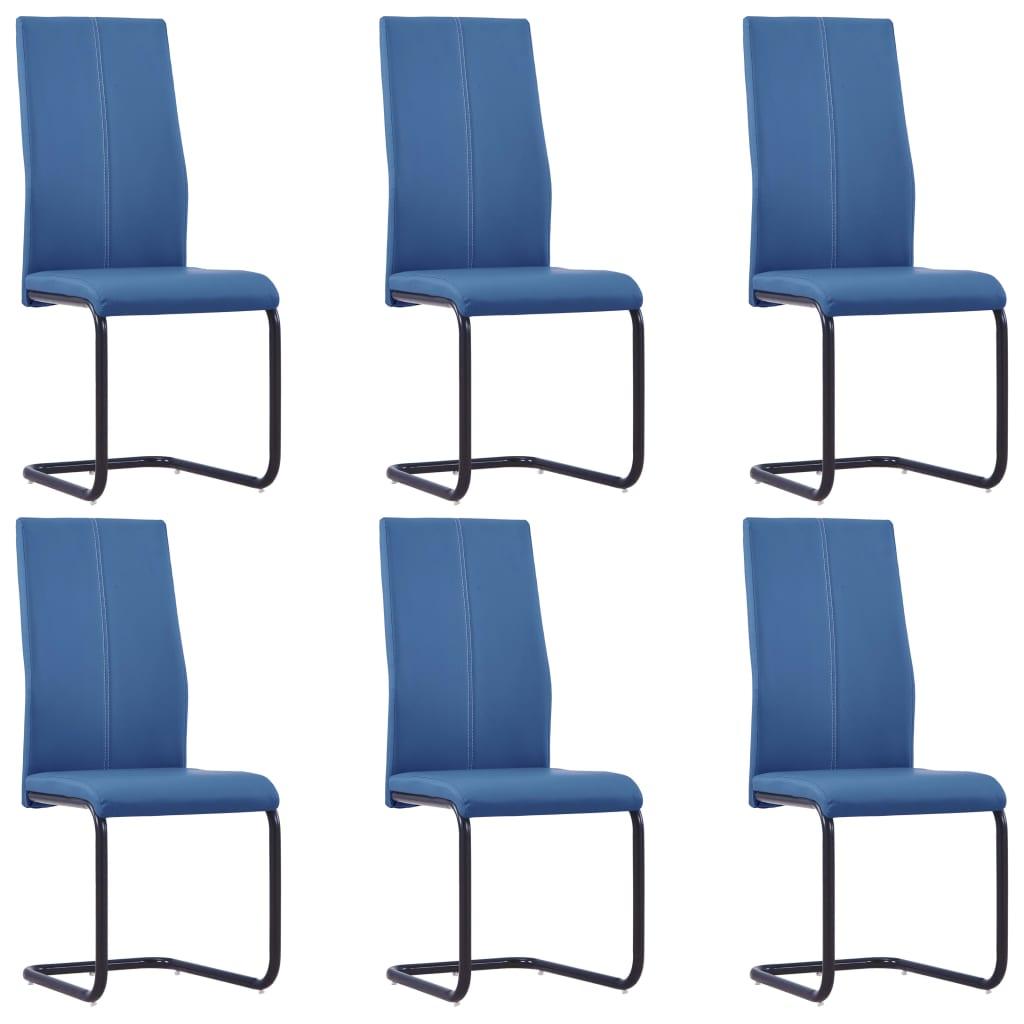vidaXL Καρέκλες Τραπεζαρίας 6 τεμ. Μπλε από Συνθετικό Δέρμα