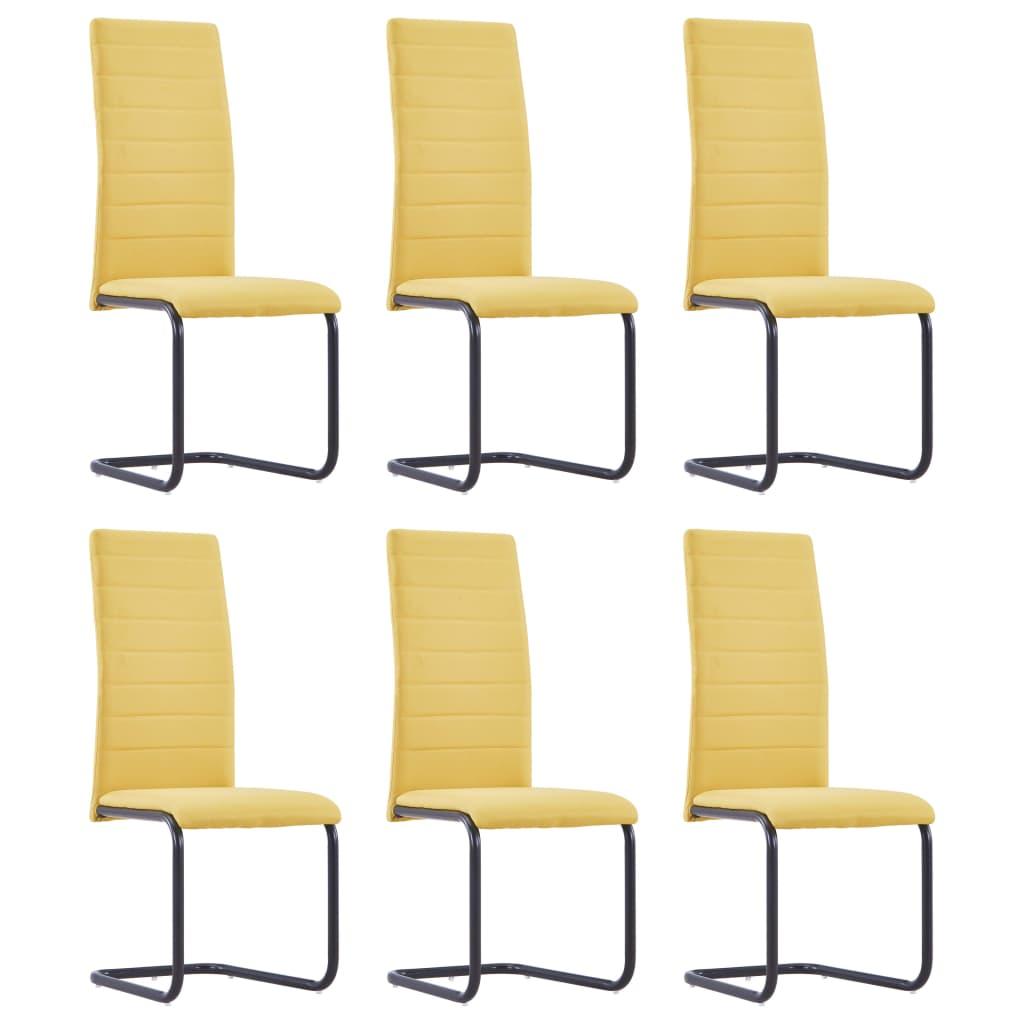 vidaXL Καρέκλες Τραπεζαρίας 6 τεμ. Κίτρινες Υφασμάτινες
