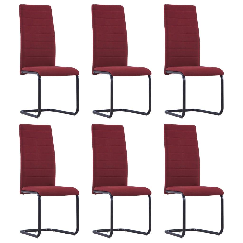 vidaXL Καρέκλες Τραπεζαρίας «Πρόβολος» 6 τεμ. Μπορντό Υφασμάτινες