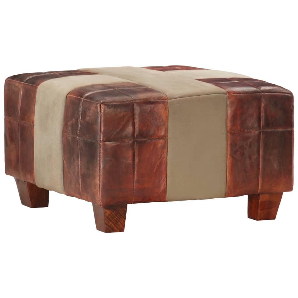 1místná stolička hnědá a šedá pravá kozí kůže