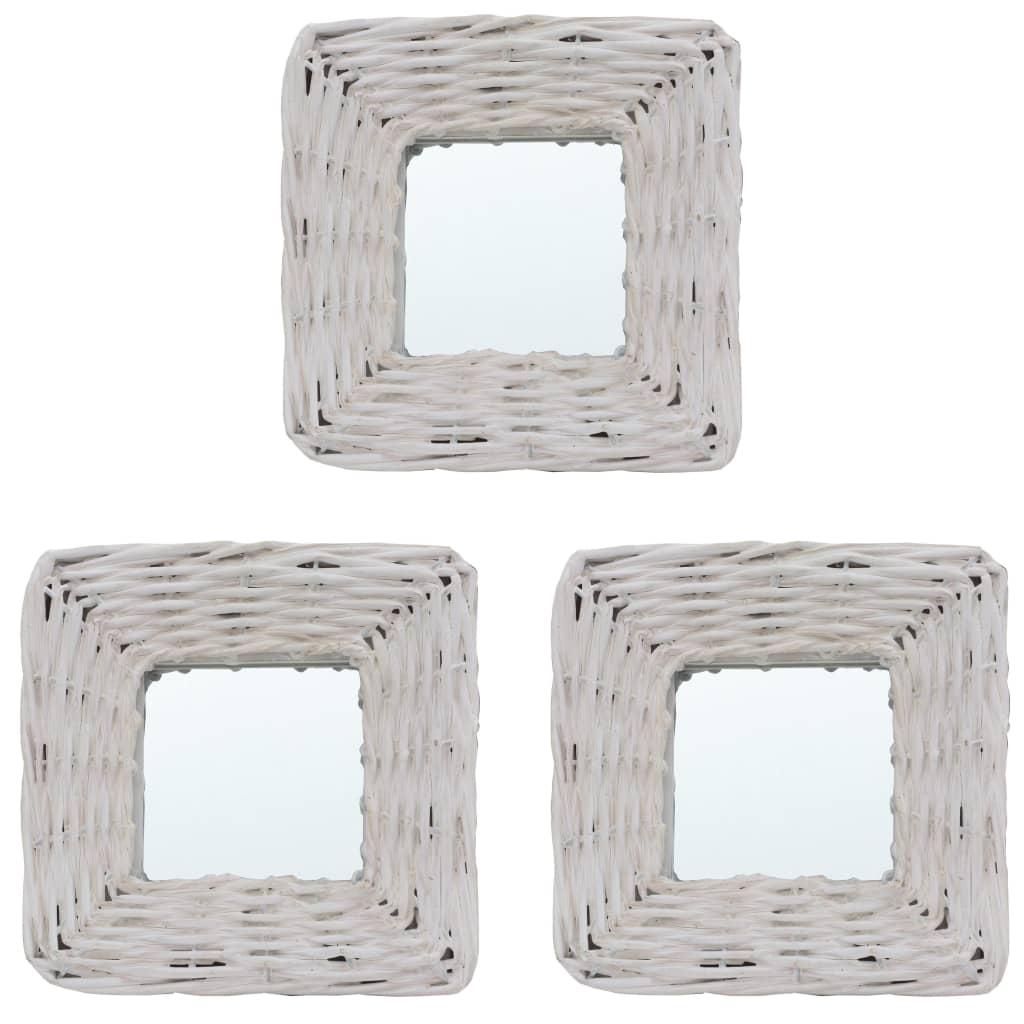 Zrcadla 3 ks bílá 15 x 15 cm proutí