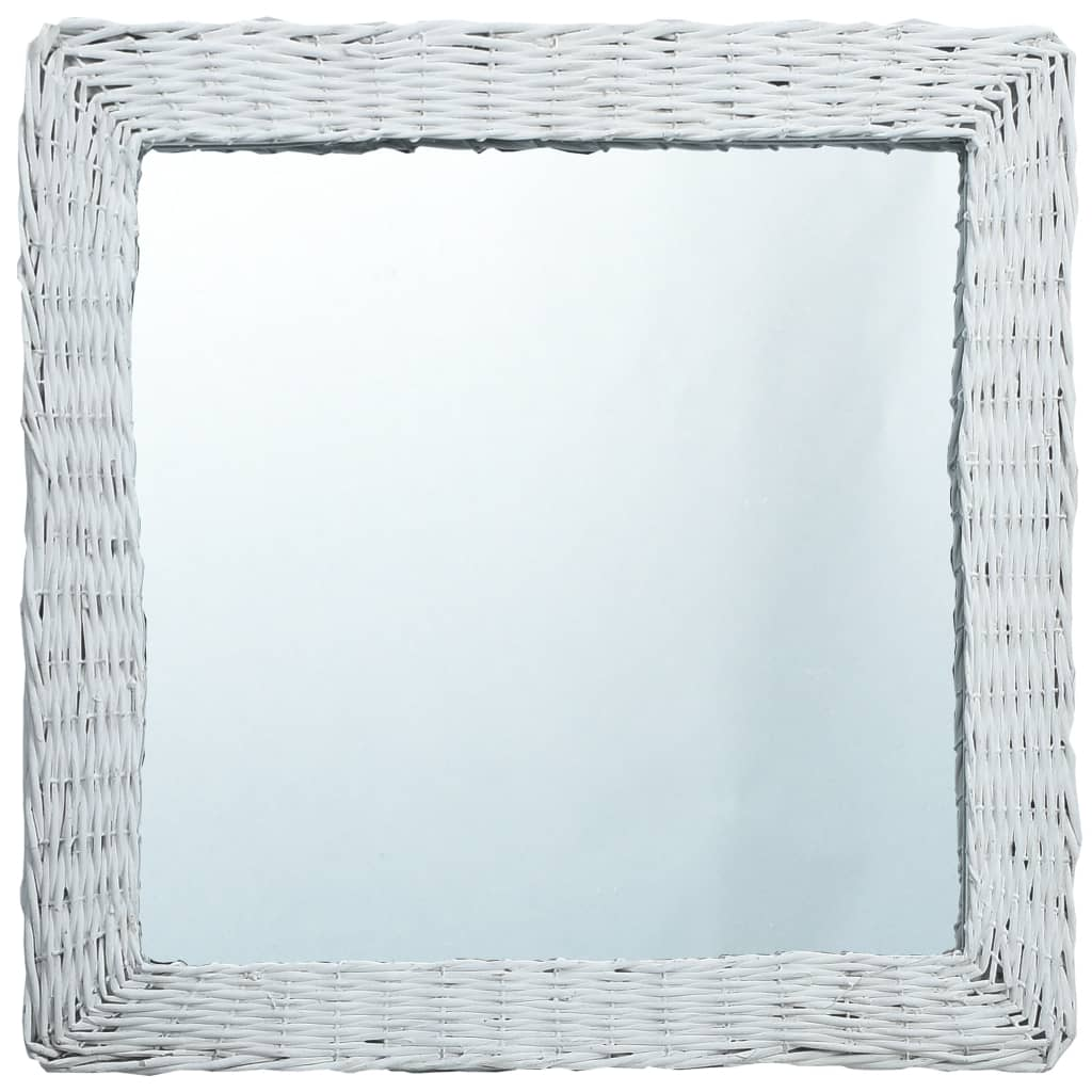 Zrcadlo bílé 50 x 50 cm proutí