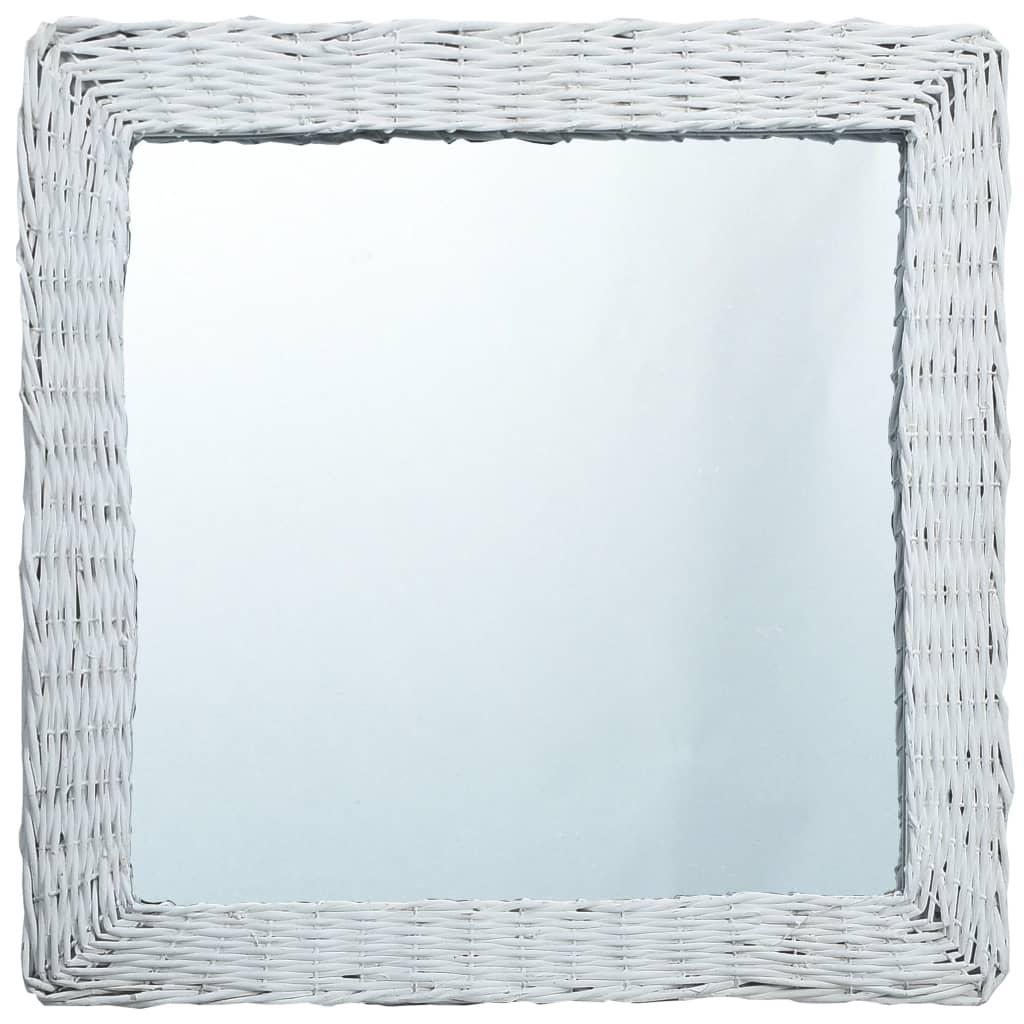 Zrcadlo bílé 60 x 60 cm proutí